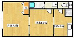 ロイヤルコーポラス[2階]の間取り