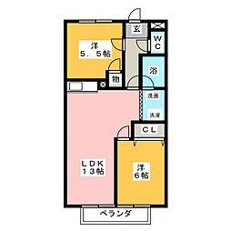 サープラスTHREEひしかわ[1階]の間取り