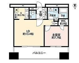 東京タイムズタワー 18階1LDKの間取り
