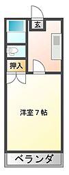 JR赤穂線 西川原駅 徒歩2分の賃貸アパート 2階1Kの間取り