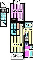 江戸3丁目アパート[202号室]の間取り