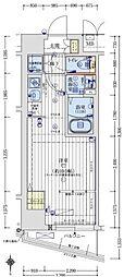 アクアプレイス天王寺III 9階ワンルームの間取り