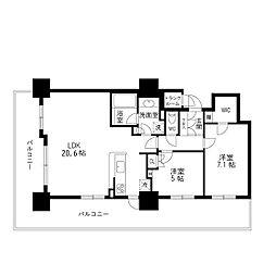 アップルタワーズ仙台ブローディアタワー2601 26階2LDKの間取り
