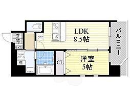プレジオ江坂2 2階1LDKの間取り