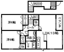 大阪府岸和田市田治米町の賃貸アパートの間取り