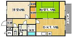 京都府京都市山科区西野山射庭ノ上町の賃貸マンションの間取り