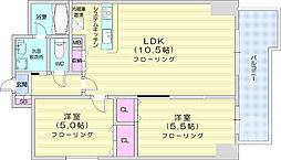 上杉ガーデンスクエア 10階2LDKの間取り