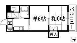 兵庫県伊丹市西野1丁目の賃貸マンションの間取り