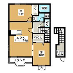静岡県富士宮市淀川町の賃貸アパートの間取り