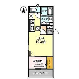仮称 調子一丁目Droom 1階1LDKの間取り