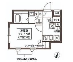 コンポジット新宿 2階1Kの間取り