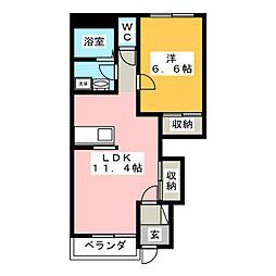 静岡県富士宮市大中里の賃貸アパートの間取り