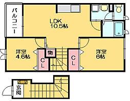 ニュークレコートB[2階]の間取り
