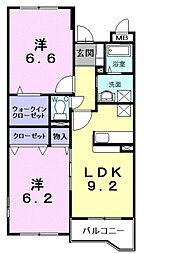 フロイデヴォーヌング 1階2LDKの間取り