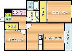 ConfortoY折尾(コンフォートY折尾)[2階]の間取り