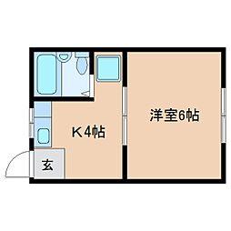 近鉄天理線 天理駅 徒歩8分の賃貸アパート 1階1Kの間取り
