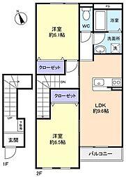 エスペランサB[2階]の間取り