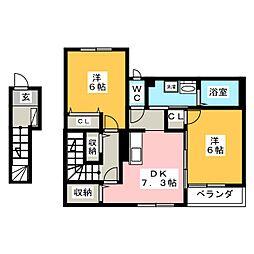 サンパレスVII 2階2DKの間取り
