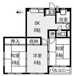 甲陽園東山ハイツ[4階]の間取り