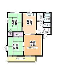 サングレース平田[B202号室]の間取り