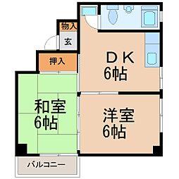 ハイムアンドウB棟[2階]の間取り