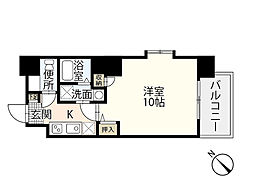 JR山陽本線 広島駅 徒歩24分の賃貸マンション 4階1Kの間取り