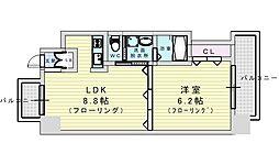 アーバネックス江坂公園 8階1DKの間取り