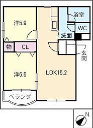 緑風マンション[2階]の間取り