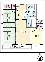 カルチェ・サパン B棟[2階]の間取り