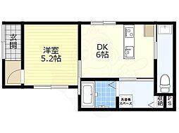 Kukuru北岡 1階1DKの間取り