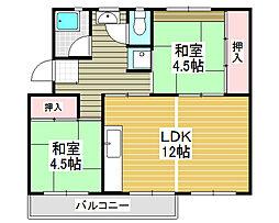 浅香山住宅26棟[5階]の間取り