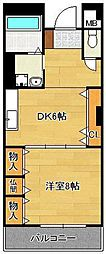 KTOビル(高優賃) 11階1DKの間取り