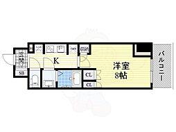 コンフォリア江坂 8階1Kの間取り