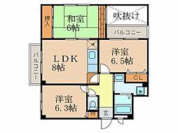 大阪府豊中市小曽根2丁目の賃貸マンションの間取り