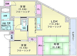JR東北本線 長町駅 徒歩31分の賃貸マンション 2階3LDKの間取り