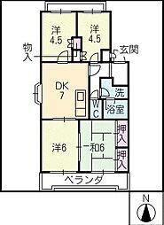 ヴィラオオワキ[4階]の間取り