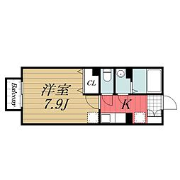 千葉県千葉市中央区亀井町の賃貸アパートの間取り
