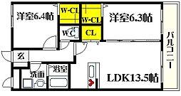リーブソレイユ 1階2LDKの間取り