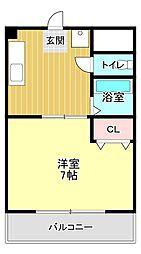 サンライフ宏和 3階1Kの間取り
