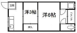 京都府京都市伏見区横大路柿ノ本町の賃貸アパートの間取り