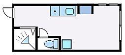 都営大江戸線 西新宿五丁目駅 徒歩6分の賃貸アパート 1階ワンルームの間取り