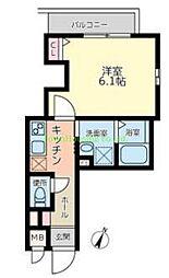 東急東横線 都立大学駅 徒歩8分の賃貸マンション 2階1Kの間取り