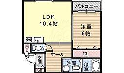 南海高野線 萩原天神駅 徒歩23分の賃貸アパート 1階1LDKの間取り