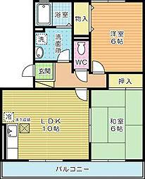 サンスカイ徳力II[3階]の間取り