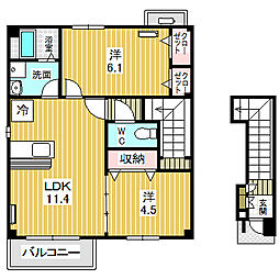愛知県名古屋市中川区東かの里町の賃貸アパートの間取り