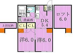 千葉県野田市五木新町の賃貸アパートの間取り