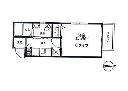 LiveCasa品川御殿山 3階1Kの間取り