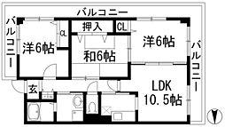 兵庫県川西市東畦野5丁目の賃貸マンションの間取り
