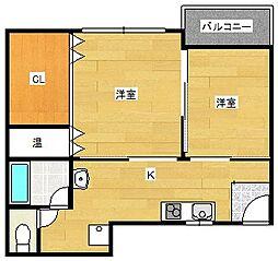 大阪府大阪市西成区千本中2丁目の賃貸アパートの間取り