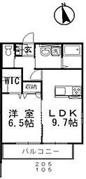 JR宇野線 妹尾駅 徒歩9分の賃貸アパート 1階1LDKの間取り